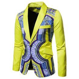 Dashiki Africano Imprimir Traje Blazer Hombres 2018 Nuevo Chaqueta de Traje  de Un solo Pecho Hombres Casual Boda Vestido de Fiesta Blazers para trajes  ... 4962df948ef1