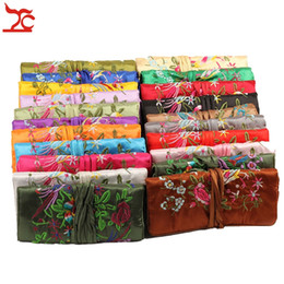 jewelry rolls Promo Codes - Chinese Wind Silk Pouches Embroidery Silk 3 Zipper Bag Ring Pendant Jewelry Storage Organizer Traveling Roll Bag 27*20 CM