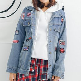 Wholesale Design Jacket For Women - New Arrival Harajuku Patch Designs Denim Jacket For Women 2018 Boyfriends Large Sized Casacos Femininos Vogue Loose Jaqueta Jeans