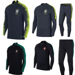 Wholesale half tights - 2018 tracksuit training suits Uniforms shirts Chandal pogba tracksuits Survetement long sleeve tight With half RONALDO
