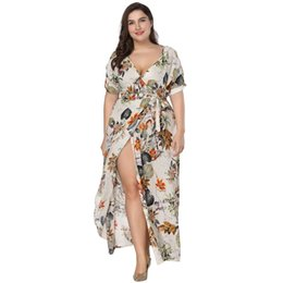 865493b1dfcae Plus Size Floral Print Boho Dress 2018 Fashion Women Summer Short Sleeve V  Neck Wrap Dress Split Sexy Beach XL to 7XL
