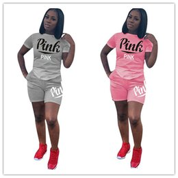 Wholesale designer ladies shirt - V S Love Pink Summer Women Tracksuit Outfits Sportswear Short Sleeve T shirt Shorts Pants Sports Set Lady Girls Casual Designer Outfit