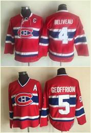 Camisetas canadienses baratos online-Montreal Canadiens # 4 Jean Beliveau Jerseys # 5 BERNARD GEOFFRION Rojo 1959 CCM Vintage Hockey Jersey