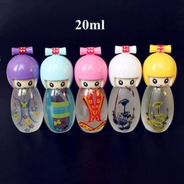 Garrafas de perfume pintadas on-line-20 ml Garrafa De Perfume De Vidro Linda Boneca Pintada Vazio Perfume Garrafas De Vidro Com Pulverizador Recarregáveis Recipientes De Perfume