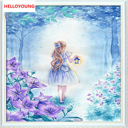 moon paintings Coupons - DIY 5D Full Diamond Embroidery The moon girl Round Diamond Painting Cross Stitch Kits Diamond Mosaic Home Decoration