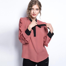 Wholesale Color Block Blouses - Loose Dark Pink Chiffon Blouse Summer Solid Long Sleeve Stand Collar Stringy Selvedge Patchwork Color Block Bowknot Blouse Shirt