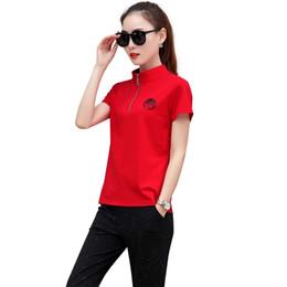 Wholesale plus size girls uniforms - Plus Size Short Sleeve Zipper T-Shirt Black Pants Two Piece Suits For Girl School Uniforms Casual Daily Outfits For Women 2018 Summer Suits