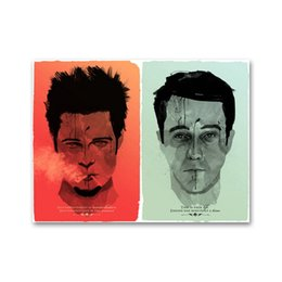 Wholesale Pictures Movie Posters - Fight Club Movie Vintage Art Silk Poster 13x20 24x36 inches Wall Pictures for Living Room Decoration 026
