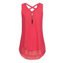 Camiseta de encaje sin mangas online-2018 mujeres Sexy Lace Tank Tops sin mangas con cremallera con cuello en v Camisetas Summer Fashion Casual algodón Camisole Tops 4.27