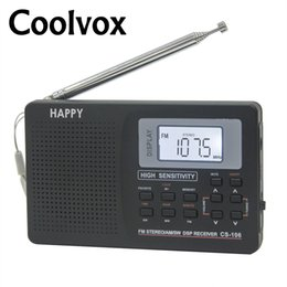 Wholesale Earphone Tv - Coolvox CS-106 Full-band Multiband Stereo Digital Tuner FM AM SW LW TV Sound Full-wave Band Receiver Radio Antenna with Earphone