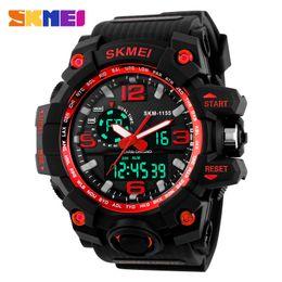 Wholesale Double Chronograph Watch Men - SKMEI Big Dial Dual Time Display Sport Digital Watch Men Chronograph Analog LED Electronic Wristwatch Military Double Time