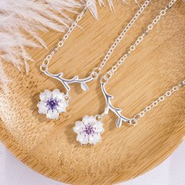 Wholesale Pink Flower Choker - 2018 hot sale pink purple crystal pendant Sakura Flower Necklaces & Pendants Cherry Blossoms With Chain Choker Necklace Jewelry 162639