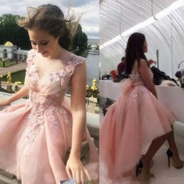 bow picture lady Promo Codes - 2019 sweet lady Illusion Pink Tulle lace High Low Prom Dresses Sleeveless v neck short hand flowers custom made Formal Party Evening Dresses