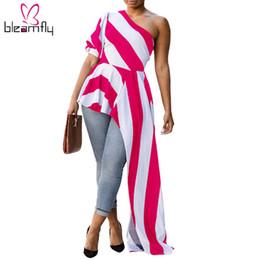 um ombro vestido maxi branco Desconto 2018 novas mulheres dress vintage branco preto listrado boho sexy de um ombro meia manga feminina assimétrica maxi dress