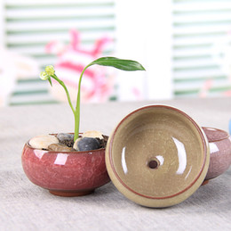 Wholesale small ceramic flower pots wholesale - Flower pot flower device Ice crack ceramic Korean style fleshy desktop small flower pot ceramic crafts bottom hole