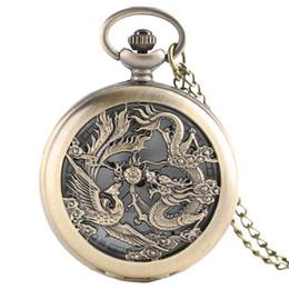 мужчины женщины дети смотреть Скидка Retro Hollow Dragon Phoenix Fashion Design Men Women Pocket Watch Half Hunter with Chain Cool Clock Children Gift reloj