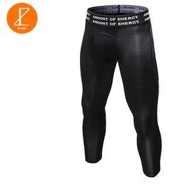 Wholesale Tight Black Stretch Pants - Ezsskj Mens Boys Compression Bottoms UnderWear 3 4 Pants PRO Athletic Apparel Stretch Elasticity Tights Pants Black White