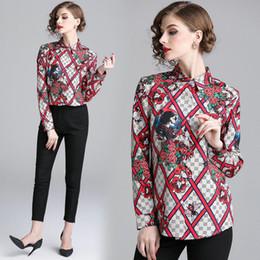 03a00827eff Quality Printed Womens Shirt Fashion Elegant Blouses Ladies Tops Long Sleeve  Lapel Business Office Shirts M L XL 2XL