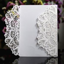 Élégantes invitations mariage enveloppe blanc rose bleu violet événement fournitures de fête papier découpé au laser invite écononique ? partir de fabricateur