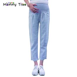 Vêtements en lin confortables en Ligne-Pantalon de maternité d'été à carreaux en lin à carreaux Confortable Vêtements de grossesse décontractés Plus Size Pantalon de grossesse à taille haute