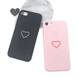 Wholesale Tpu Case Iphone Heart - Cute Love Heart Soft TPU Case Fashion Ultrathin Frosted Back Cover Cases For iPhone X 8 7 6 6S Plus