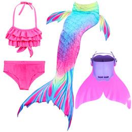 4 pezzi / set coda di sirena con flipper bikini ragazze bambini bambini nuotata nuoto coda di sirena costome cosplay da