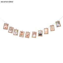 Wholesale Hanging Rope Frame - 10pcs DIY 6inch Hanging Album Clip Kraft Paper Photo Frame Strings Rope Clips Sets For Wedding Party Decoration Home Decor