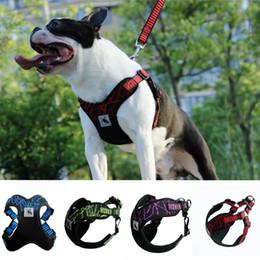 Wholesale dog walking vest - Pet Dog Vest Large Dog Harness Leash Collar Set Pet Collar 5 Colors Walk Out in Training Running Adjustable Strap Vest EEA329