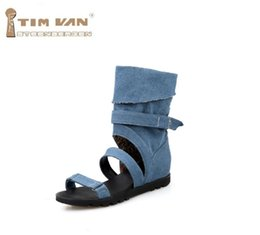 Wholesale British Shoes Women - Women new fashion spring summer Denim cool boots high leg 2017 british style hidden heels open toe shoes