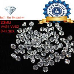 Canada 2pcs / lot petite taille 2.3mm couleur blanche Moissanite ronde brillante lâche Moissanites Pierre pour la fabrication de bijoux Offre