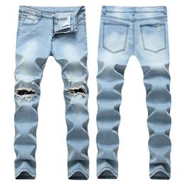 Wholesale Mens Skinny Denim Shorts - 2018 Mens Ripped Skinny Jeans Fashion Designer Mens Shorts Jeans Slim Motorcycle Moto Biker Causal Mens Denim Pants Hip Hop Men Jeans
