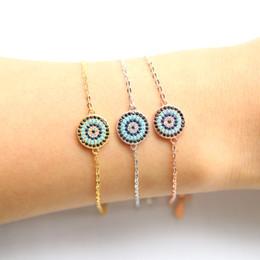 2018 neue Echtes 925 Sterling Silber Armbänder Runde Evil Eye Armband Weiß Rose Gold Blau Zirkonia Frau silber Schmuck von Fabrikanten