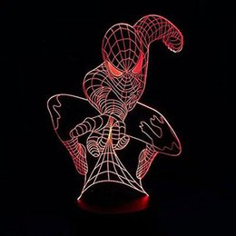 Lâmpadas de bulbo on-line-Superhero Spiderman 3D Lâmpada de Ilusão de Óbtico Bulbing Night Table Light 7 CoresQuarto Dormir Decoração de Natal # R87