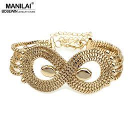 Wholesale Fashion Jewelry Multi Layered Chains - whole saleMANILAI Punk Multi layered Metal Chain Bracelet Cuff Jewelry Fashion Geometric Bracelets & Bangles Statement Bracelets For Women
