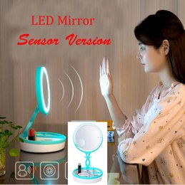 Wholesale Wholesale Makeup Tables - led mirror table makeup set gift for woman infrared sensors colorful table lamp led light mirror with rechargeable battery and retail box