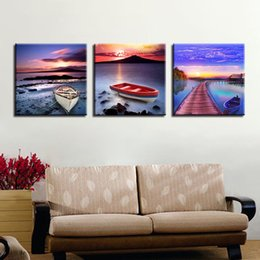 Wholesale sunrise wall art home decor - Home Decor Canvas Paintings Wall Art HD Prints 3 Pieces Ocean Sunrise Scenery Pictures Bridge Boat Poster Living Room Framework