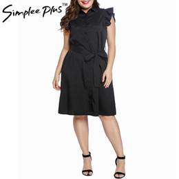 ea62baf513 2019 vestido camisero negro cinturón Sencillo vestido de mujer con mangas  de pétalo