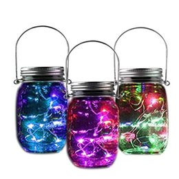 Wholesale Hanging Jars - 10 LED Glass Bottle Light String Solar Battery Operated Jar Light Night Lamp for Wedding Party Home Outdoor Hanging Decor