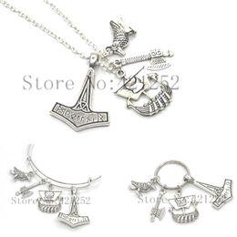 regalos de vikingos Rebajas 12pcs / lot Viking collar Historia Geek Barco Thor's Hammer Tho Regalo para él Nerd collar bracelet keyring