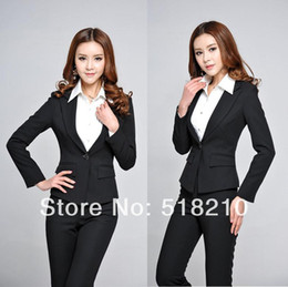 1823909c3bf9c New 2018 Spring Autumn Formal Black Blazers Career Suits Women Slim Elegant Pants  Suits Ladies Office Suits for Work Wear Sets