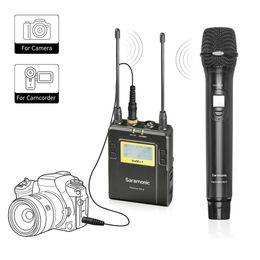 2019 mikrofon für dslr kamera Drahtloses Handmikrofon für DSLR Kamera, Saramonic UWMIC9 UHF Interview-Mikrofon-System mit Handmikrofon und Empfänger rabatt mikrofon für dslr kamera