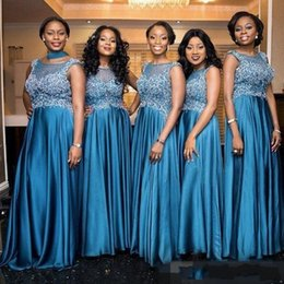 Wholesale Ocean Coral - 2018 South African Ocean Blue A line Bridesmaid Dresses Mermaid Sequins Appliques Sheer Neck Illusion Custom Made Maid of Honor Gowns