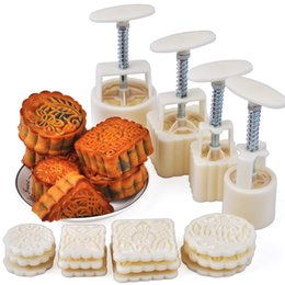 Wholesale Hand Cookies - Wholesale- 16 Pcs Moon Cake Mold 4 Hand Pressure Moulds + 12 Motifs Mooncake Molds Round & Square Cookie Dessert Bake Tools