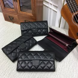 Wholesale Tartan Clutch - Hot sales Fashion casual Long Style Designer Clutch Women Purse Brand Wallet Caviar Leather Bifold Credit Card Holders Wallets purse 31507