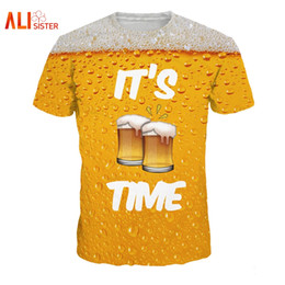Wholesale Novelty Beers - Alisister Beer Print T Shirt It 'S Time Letter Women Men Funny Novelty T -Shirt Short Sleeve Tops Unisex Outfit Clothing Dropship