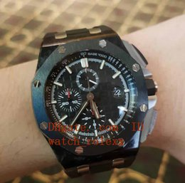 Wholesale Fiber Ceramics - Men's luxury JF Factory Automatic Movement Chronograph Watch 12 Oclock second hand Cal.3126 26400 Eta black rubber carbon fiber watches