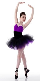 Wholesale purple belly dance top - Top Selling Adult Ballet Tutu Dance Costumes Women Stage Wear Purple Ballet Tutu Dress Performance Costume Dance Clothes 14049
