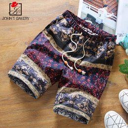 Wholesale Yellow Cargo Shorts Mens - 2017 Mens Shorts Casual Bermuda Brand Personality Pattern Compression Male Cargo Shorts Men Linen Fashion Men Short Summer Linen
