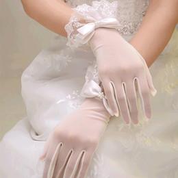 nastri da polso Sconti Nuovo arrivo a buon mercato in magazzino Appliques in pizzo Perle senza dita Lunghezza polso con nastro Guanti da sposa Accessori da sposa