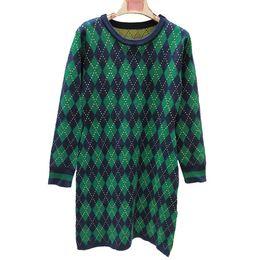 Invierno maxi vestido de lana online-【Buena calidad de la casa de Sissy】 18 Vestido de punto de mezcla de lana con estampado de diamantes en otoño e invierno Imported Gold Thread